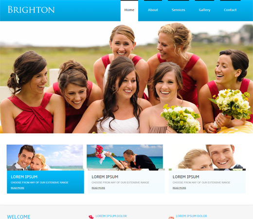 Brighton wedding website Responsive web Template