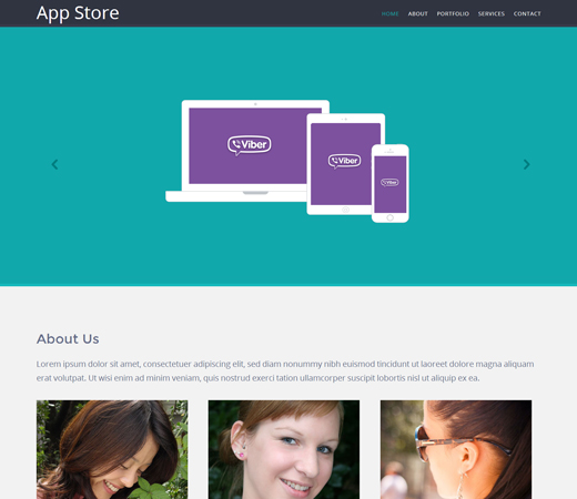 AppStore Mobile App Flat Responsive Template