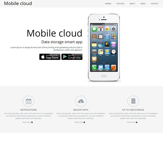 Mobile Cloud App Responsive Template